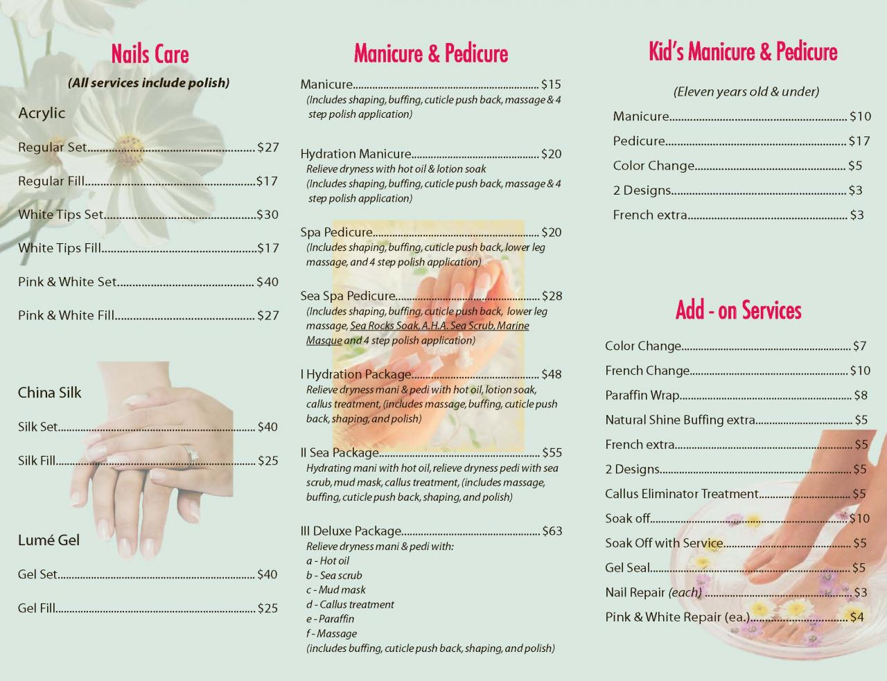 Song hy printing brochure for Nail salon brochure